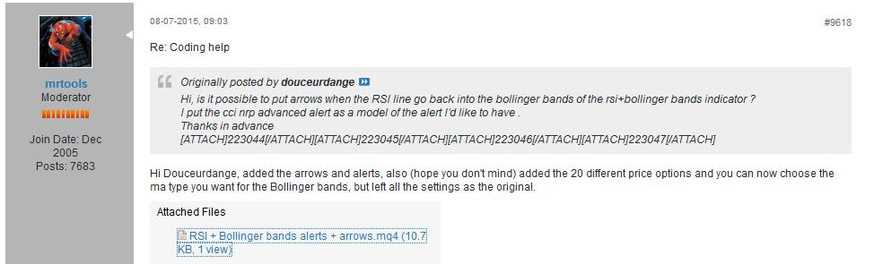 Bollinger bands alert indicator mq4